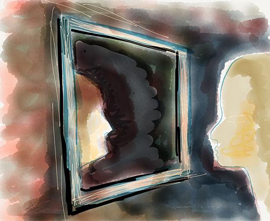 Dessin de l'autre dans le miroir